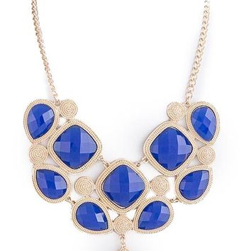 Gold-Lined Royal Blue Gem Necklace