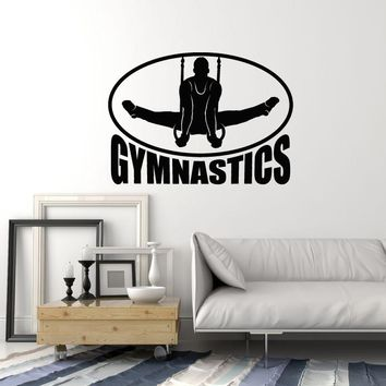 Vinyl Wall Decal Gymnastics Rings Athlete Man Sports Art Stickers Mural (ig5446)