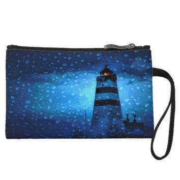 Blue nautical night with lighthouse and drops wristlet wallet