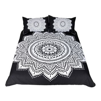 Mandala Print Bedding Set Queen Size Floral Duvet Cover Black and White Bohemian Bedclothes Lotus Bed Set