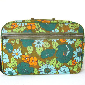 vintage 1960s mod floral canvas travel suitcase / olive green fabric tote