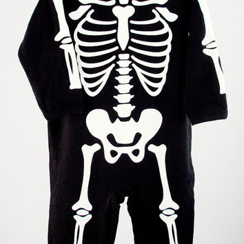 Skeleton Baby Playsuit Cool Infant Toddler Bodysuit for Babies Punk Rock Onesuit 100% Cotton