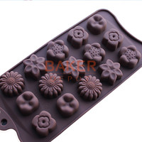 silicone mold new 15 holes with 5 kinds of flower silicone chocolate mould ice cube mold DIY baking molds CDSM-229