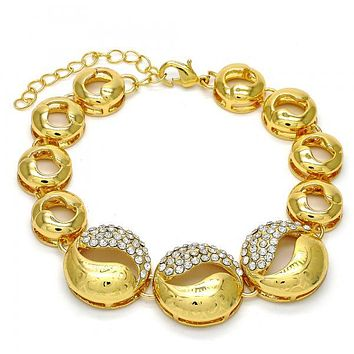 Gold Layered 03.241.0004.08 Fancy Bracelet, Cluster Design, with White Crystal, Polished Finish, Gold Tone