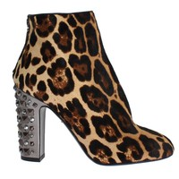 Dolce & Gabbana Leopard Pony Hair Leather Boots Shoes