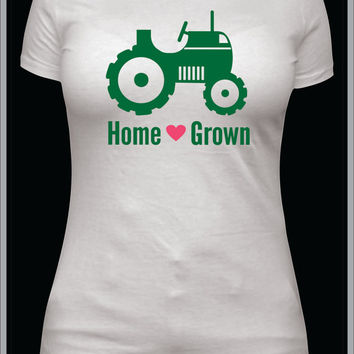 Home Grown southern girl, summer tshirt, farmer shirt, tractor