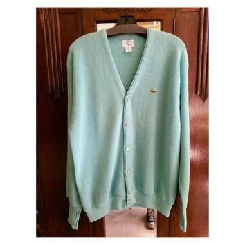 Vintage 70s Mint Green Izod Lacoste Cardigan Size Large
