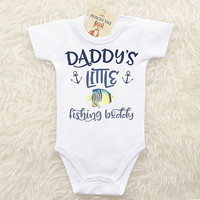 Daddy's Fishing Buddy Baby Clothing. Baby Girl or Baby Boy Clothes. Baby Fishing Shirt. Gift for Dad. Long or Short Sleeve Baby Bodysuit.