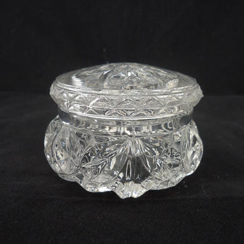 Vintage Art Deco, Depression Clear Glass Small Trinket Box/Powder Jar/Jewelry box , UK Seller