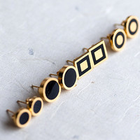 Small Black Stylish Gold plated earring studs with by pardes