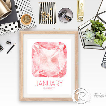 January Birthstone Garnet Wall Art, Birthstone Gemstone Wall Art Print, Star Sign, Birth Print, Graphic Art Printable, INSTANT DOWNLOAD