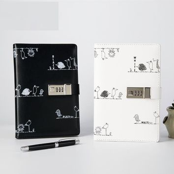 High Quality Multifunction Hardcover Commercial Diary Bookwith Coded Lock A5 Notebook Password Lock