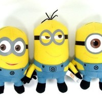 """Despicable Me 2 Minions 6"""" Plush Doll Set Featuring Stuart, Dave and Tim"""