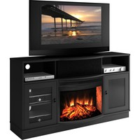 64 Inch TV Stand Contemporary with Curved Front Electric Fireplace Black