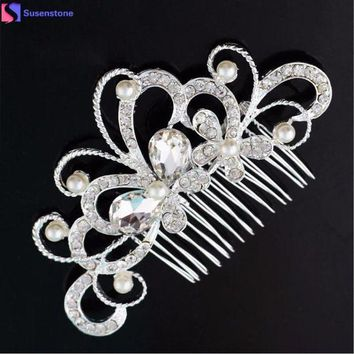 ICIKU7Q Bridal Wedding Butterfly Pearl Hairpin Hair Clip Comb Jewelry