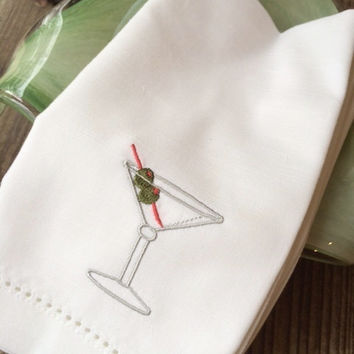 Set of 4 Martini Drink Cocktail Embroidered Cloth Napkins /Cotton / Poly / hostess gift / cocktail napkins / party napkins/ drink napkins