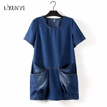 XL-4XL Casual Women's Denim Dresses 2017 Loose Irregular Pockets Short Sleeve Mini Dress Cotton Jeans O-neck vestidos ukraine