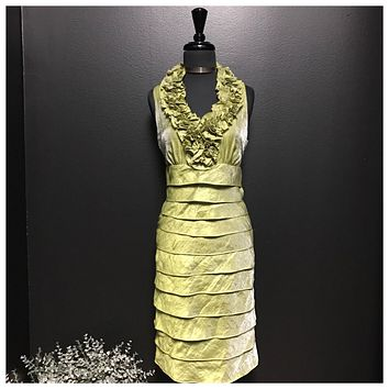London Times Lime Green Formal Tier Dress, US Size 4