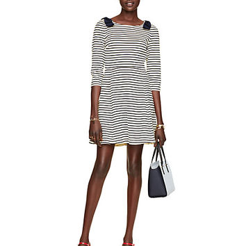 Kate Spade Stripe Ponte Fit And Flare Dress Rich Navy/Cream