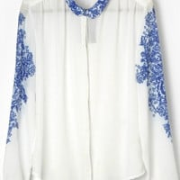 White Long Sleeve Floral Print Blouse