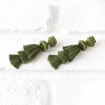 Green Beaded Layered Tassel Earrings | NRFB