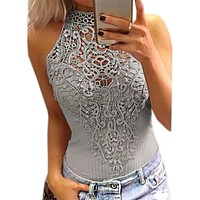 Body Lace Summer Playsuit Bodycon Sleeveless Patchwork Sexy Bodysuit  Women Rompers