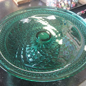 Fostoria Green Teal Glass Footed Cake Plate Stand