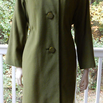 Olive Green Cashmere Coat Mink Collar Mid Century Glamour 1950s Woman's Coat Mad Men Coat