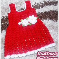 Crochet baby red dress pattern, crochet baby clothing pattern, flower decorating, 0-4 years, dress pattern, How to make baby dress