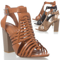 Womens Open Toe Huarache Sandal Strappy Ankle Strap Block Chunky High Heel Shoe