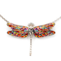 Handmade Millefiori Dragonfly Necklace - Polymer Clay Pendant - Fun Gift for Girls - FREE SHIPPING