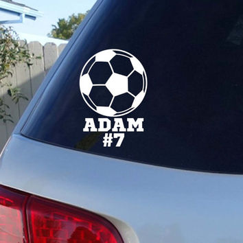 Soccer ball car decal with childs name and team number soccer car decal soccer