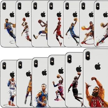 NBA Phone Case Basketball Star James Curry Harden Kyrie irving for iphone 7 8 6 6S PLUS X 10 5S SE Transparent Silicone Capinha