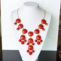 Red bubble necklace,holiday party,bridesmaid gifts,Beaded Jewelry,wedding necklace,Red color necklace