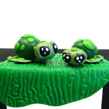 Turtle Ornament - Polymer Turtle - Polymer Shelf Sitter -Animal Home Decor - Gift Under 20 - Kawaii Turtle - Nursery Decor - Turtle Ornament