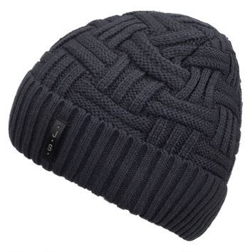 Mens Winter Knitting Wool Warm Hat Daily Slouchy hats Beanie Skull Cap