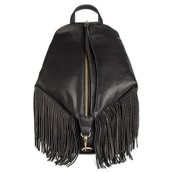 Women's Zipper Front Backpack Handbag with Fringe Black - Mossimo Supply Co.™