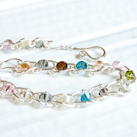 Swarovski Crystal Silver Plated Linked Bracelet, Wire Wrapped Bracelet