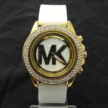 MK Michael Kors men and women new stylish fashion candy strap F-SBHY-WSL White Watchband + Gold Dila + Gold Case