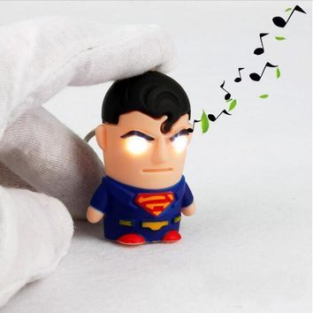 1pcs Ultra Bright LED Cute Avengers Superman Electronic Keychain Action Figure Toys With Sound Keychain Kids Gifts