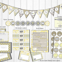 Gray and Yellow Elephant Baby Shower Decorations: Banner, Printable Package, Instant Download, Gender Neutral by Little Party that Could