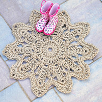 Flower Door Mat - Rope Mat - OOAK home floor decor - made to order