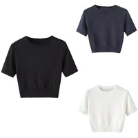 Short Sleeve Ribbed Trim Knitted Crop Top