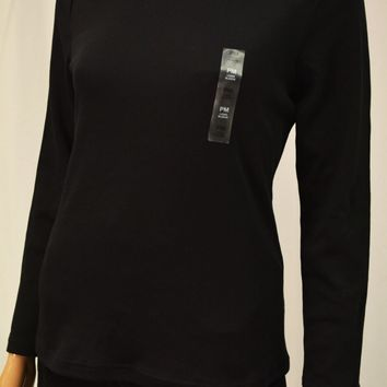 Karen Scott Women's Mock-Turtleneck Black Sweater Top Petite M PM