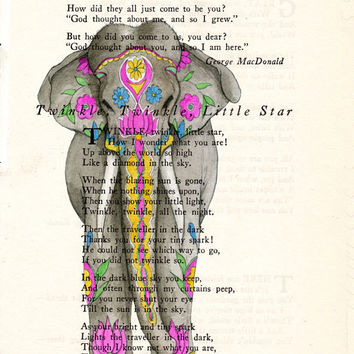 Book Page Art Inda Ceremonial Elephant  Poem Page Print Antique Book Upcycled Page Art India Elelphant cp342