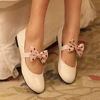 YESSTYLE: Grace Candy- Bow-Accent Patent Flats (White - 36) - Free International Shipping on orders over $150