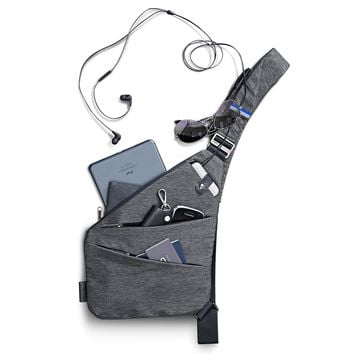 Grey Water Repellent Small Crossbody Bag