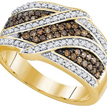 Cognac Diamond Bridal Ring in 10k Gold 0.7 ctw