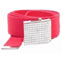 New Womens Mens Military Style Rhinestone Red Canvas Web Belt