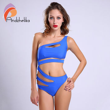 Sexy One Piece Swimsuit Bandage For Women Solid White and Blue One shoulder Cut Out Monokini Swimwear Bathing Suit bodysuit